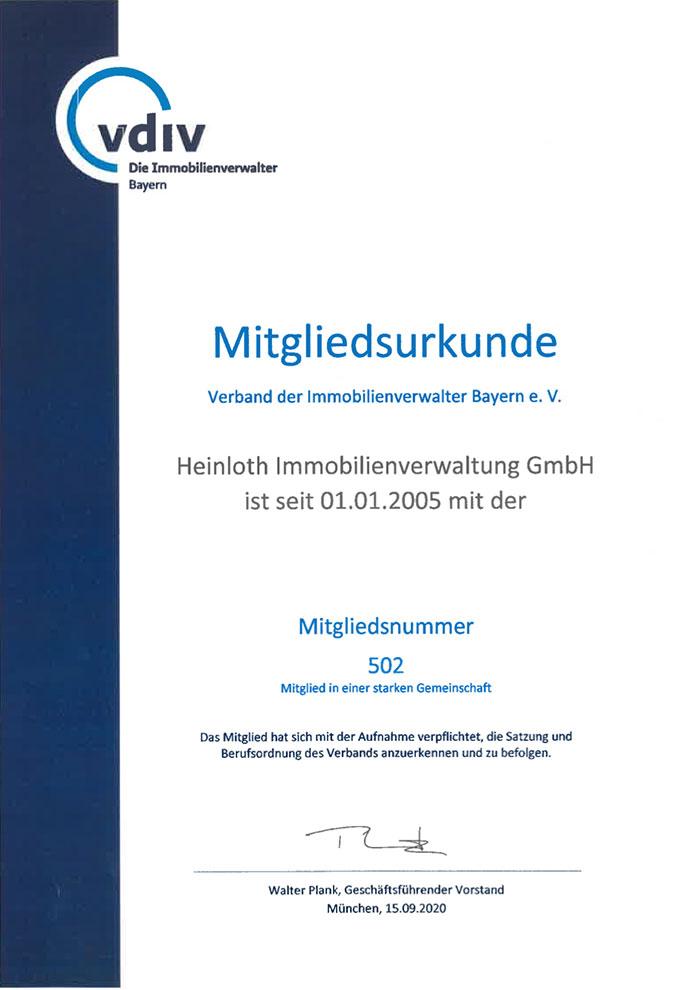 VDIV-Urkunde