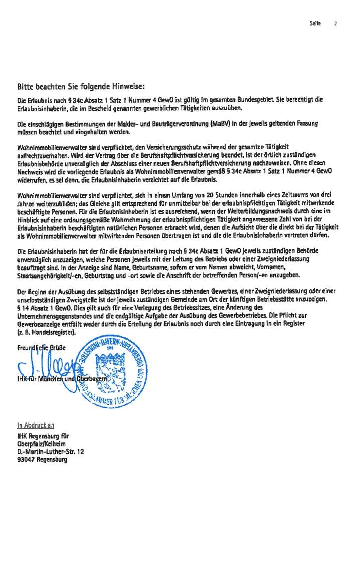 Zulassungs-Urkunde IHK