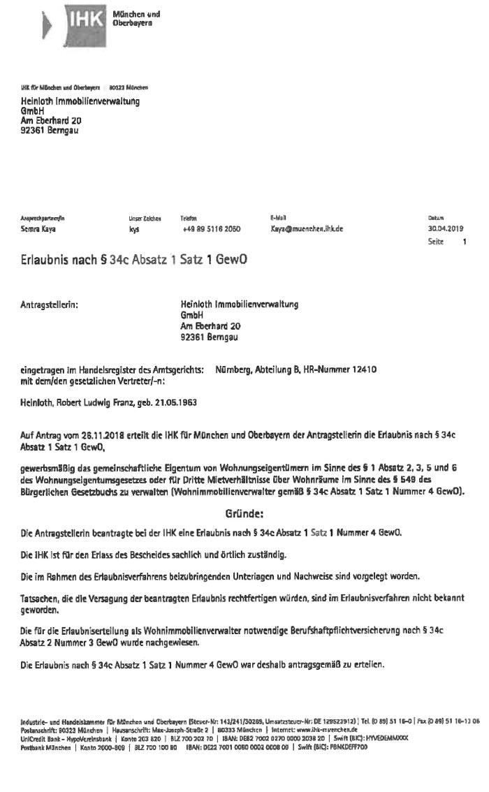 Zulassungs-Urkunde der IHK München und Oberbayern